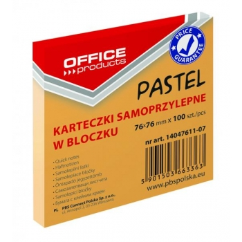 MÄRKMEPABERID LIIMIGA 76MMX76MM 100 LEHTE PASTELL ORANZ OFFICE PRODUCTS